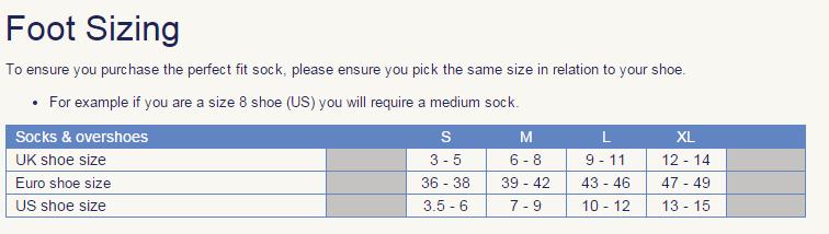 socks size