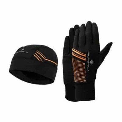 running beanie and glove set black fluo orange p4069 8347 image