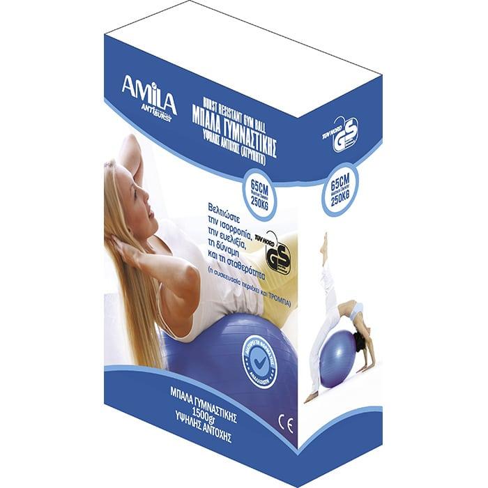 Μπάλα Γυμναστικής AMILA GYMBALL 65cm Μπλε 2A